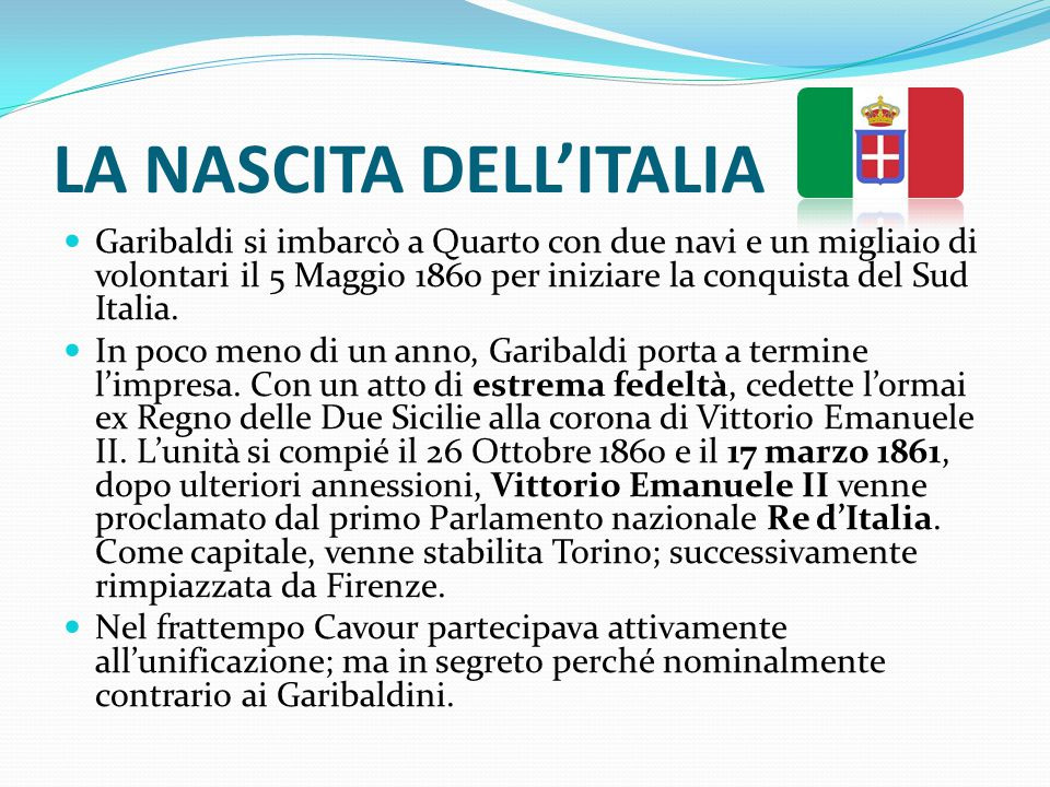 LA NASCITA DELL'ITALIA