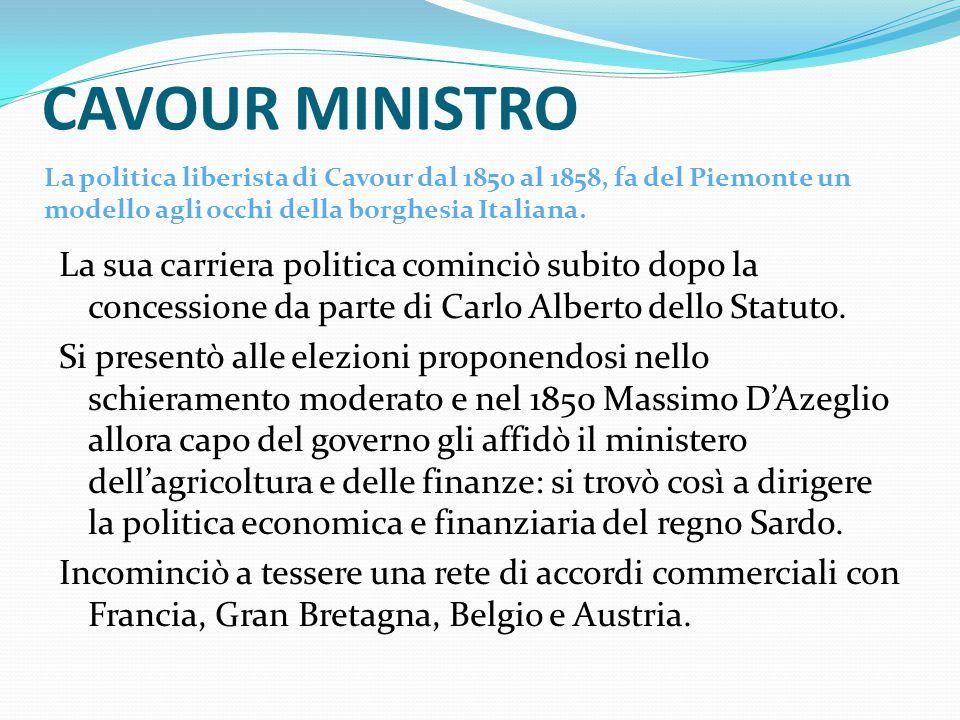 CAVOUR MINISTRO La politica liberista di Cavour dal 1850 al 1858, fa del Piemonte un modello agli occhi della borghesia Italiana.