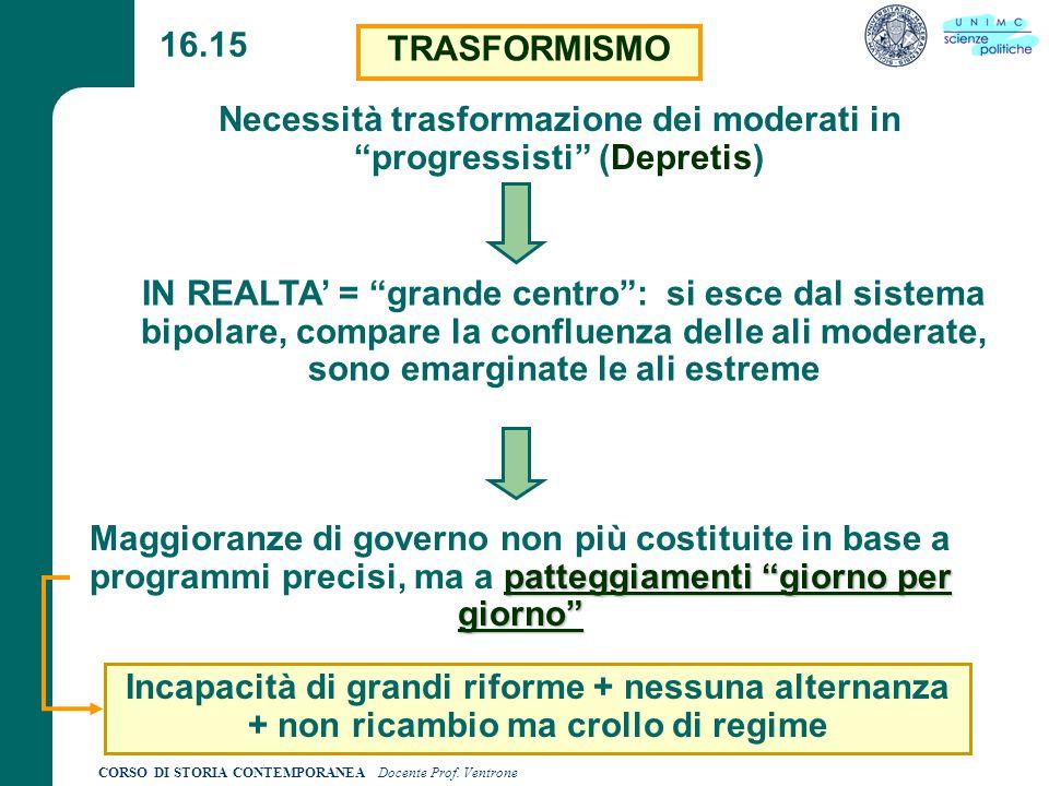 Necessità trasformazione dei moderati in progressisti (Depretis)