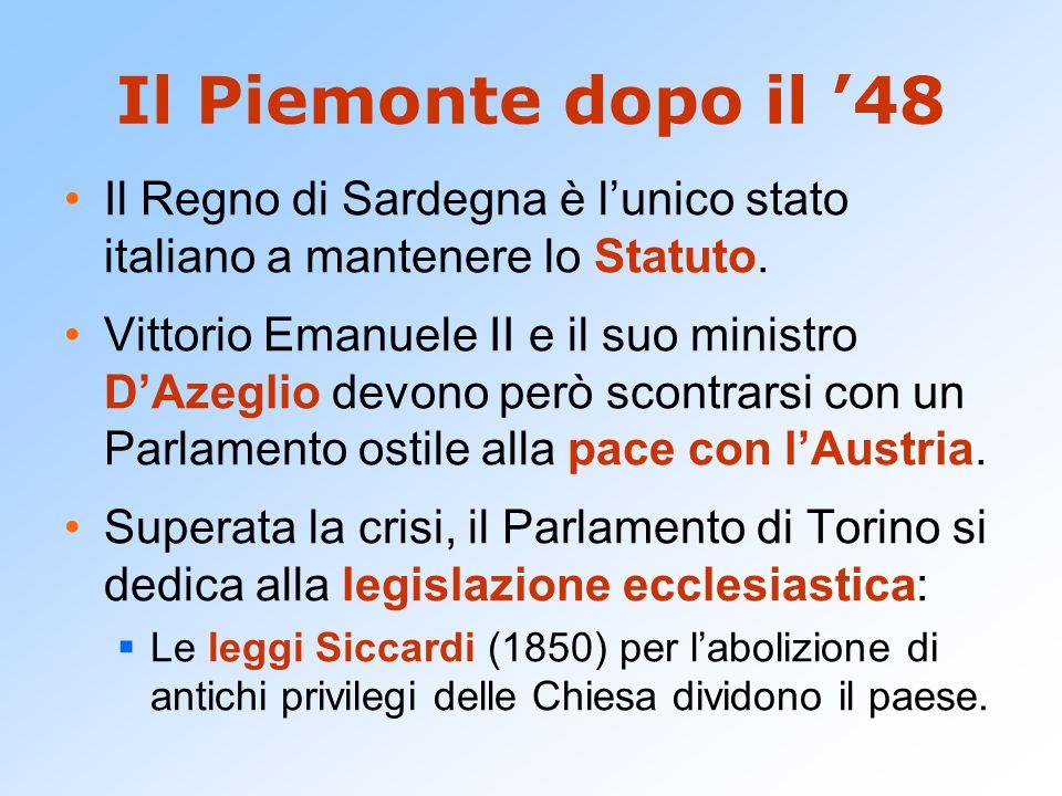 Il Piemonte dopo il '48 Il Regno di Sardegna è l'unico stato italiano a mantenere lo Statuto.
