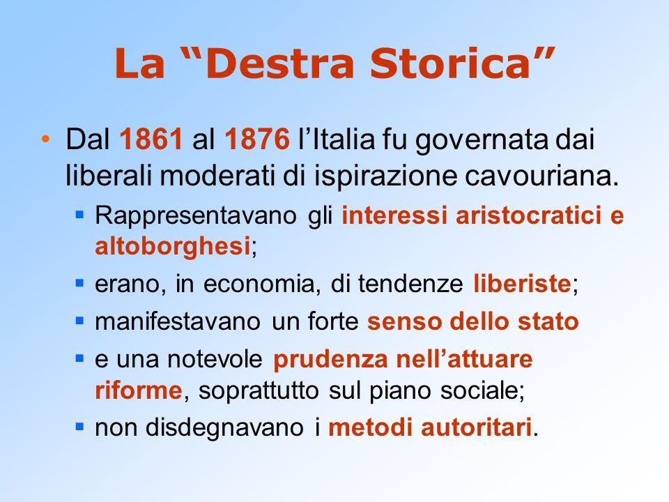 La Destra Storica Dal 1861 al 1876 l'Italia fu governata dai liberali moderati di ispirazione cavouriana.