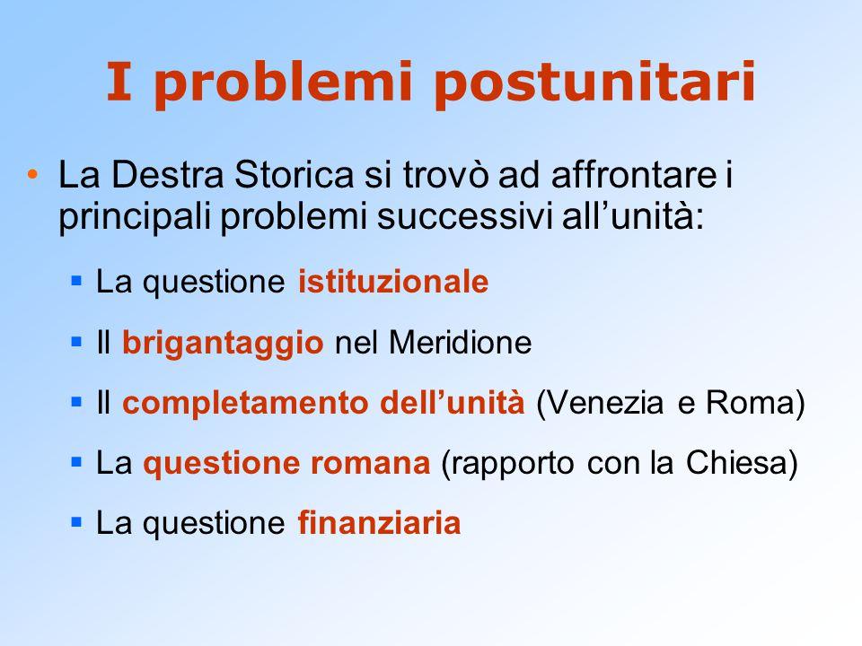 I problemi postunitari