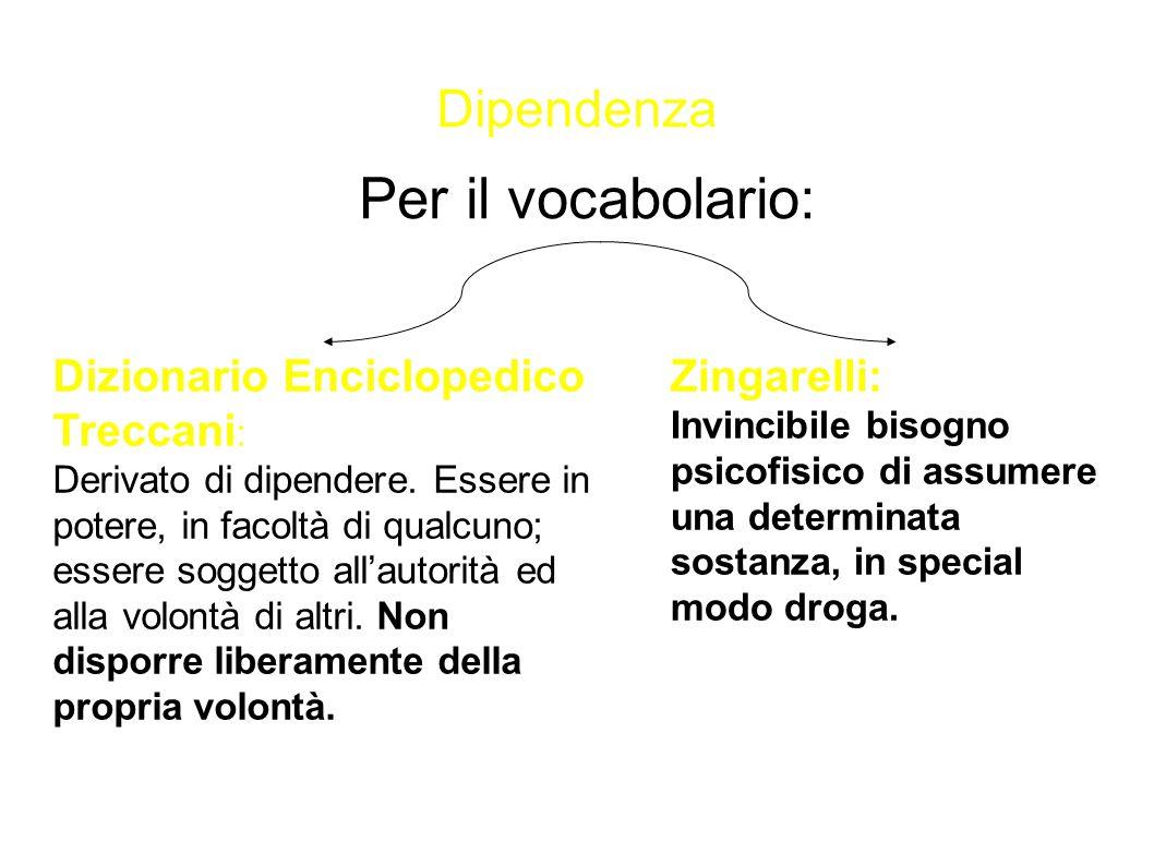 Per il vocabolario: Dipendenza Dizionario Enciclopedico Treccani: