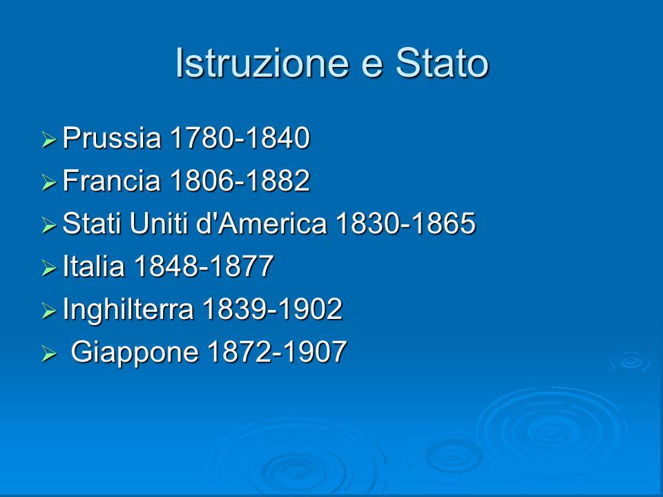 Istruzione e Stato Prussia 1780-1840 Francia 1806-1882