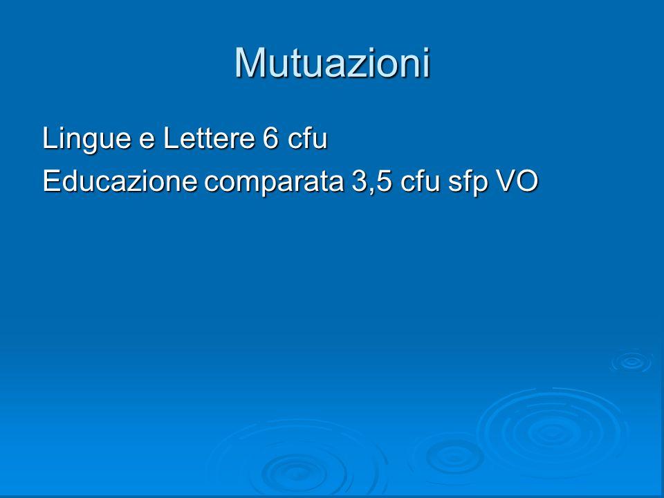 Mutuazioni Lingue e Lettere 6 cfu Educazione comparata 3,5 cfu sfp VO