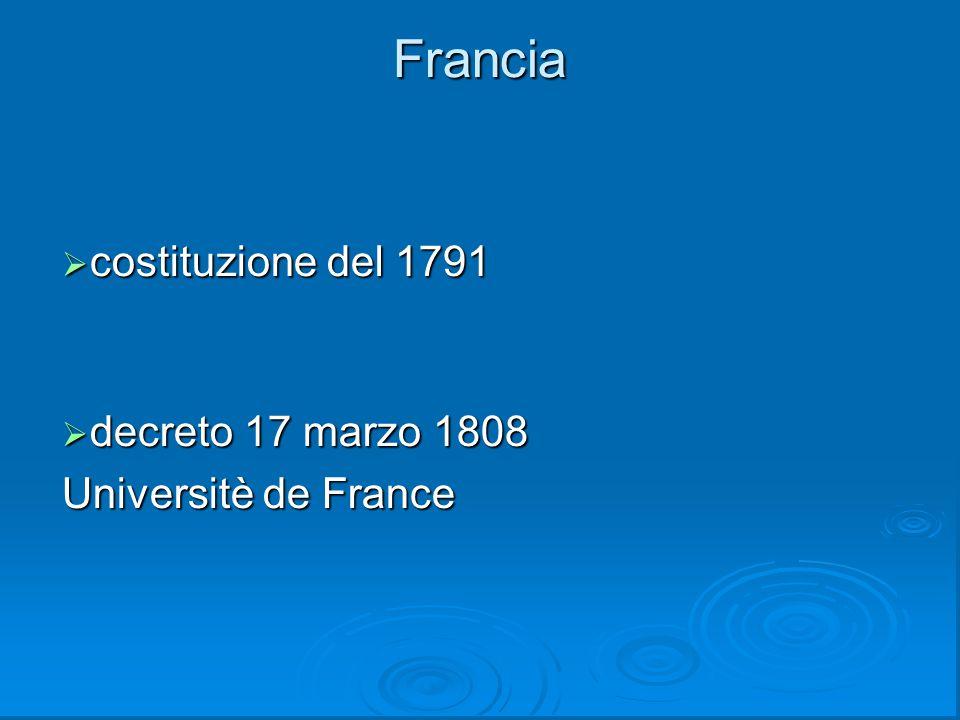 Francia costituzione del 1791 decreto 17 marzo 1808