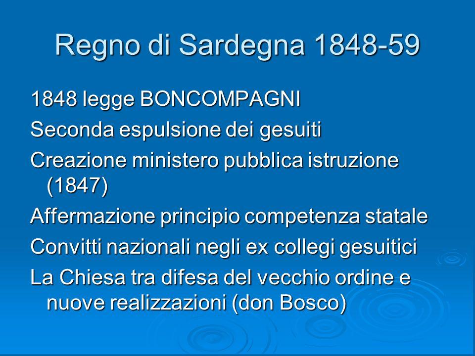 Regno di Sardegna 1848-59 1848 legge BONCOMPAGNI