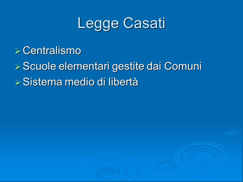 Legge Casati Centralismo Scuole elementari gestite dai Comuni