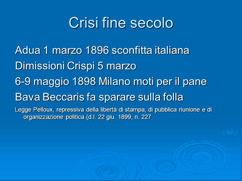 Crisi fine secolo Adua 1 marzo 1896 sconfitta italiana