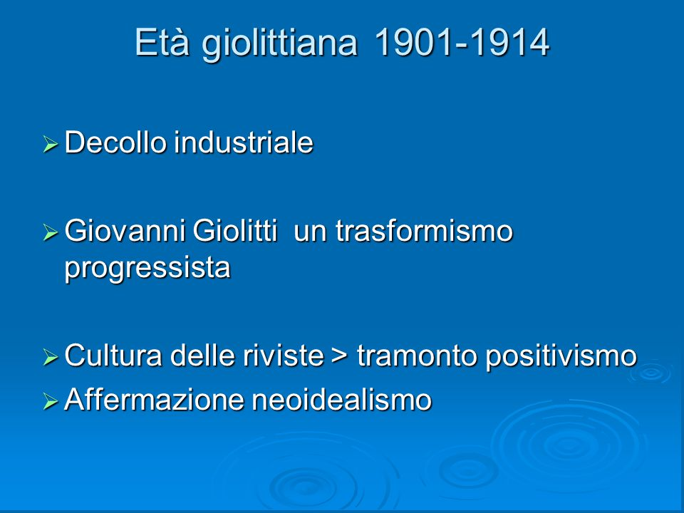 Età giolittiana 1901-1914 Decollo industriale