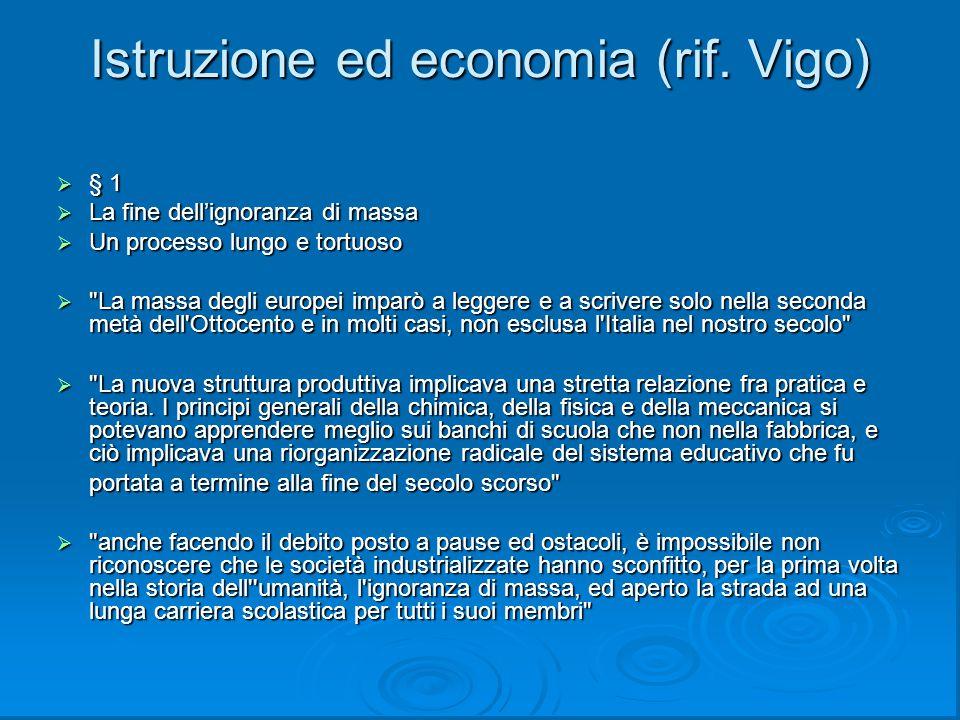 Istruzione ed economia (rif. Vigo)