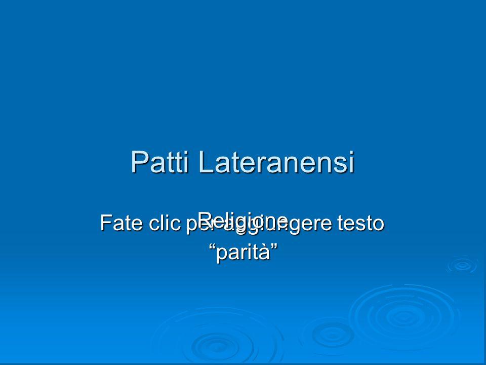 Patti Lateranensi Religione parità