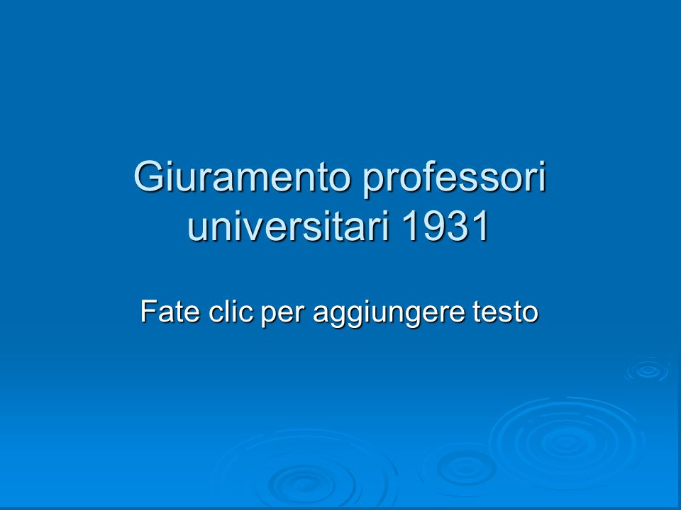 Giuramento professori universitari 1931