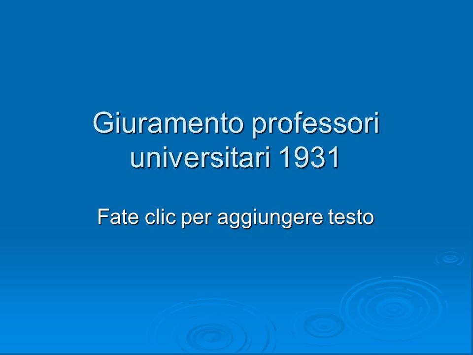 Giuramento professori universitari 1931