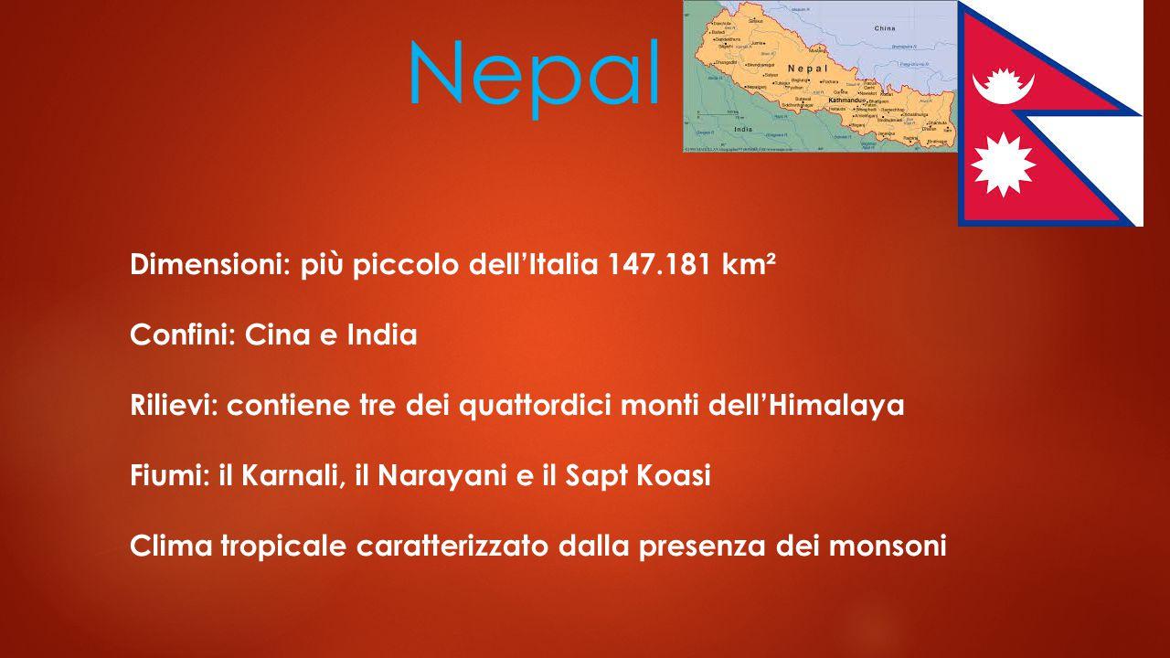 Nepal Dimensioni: più piccolo dell'Italia 147.181 km²