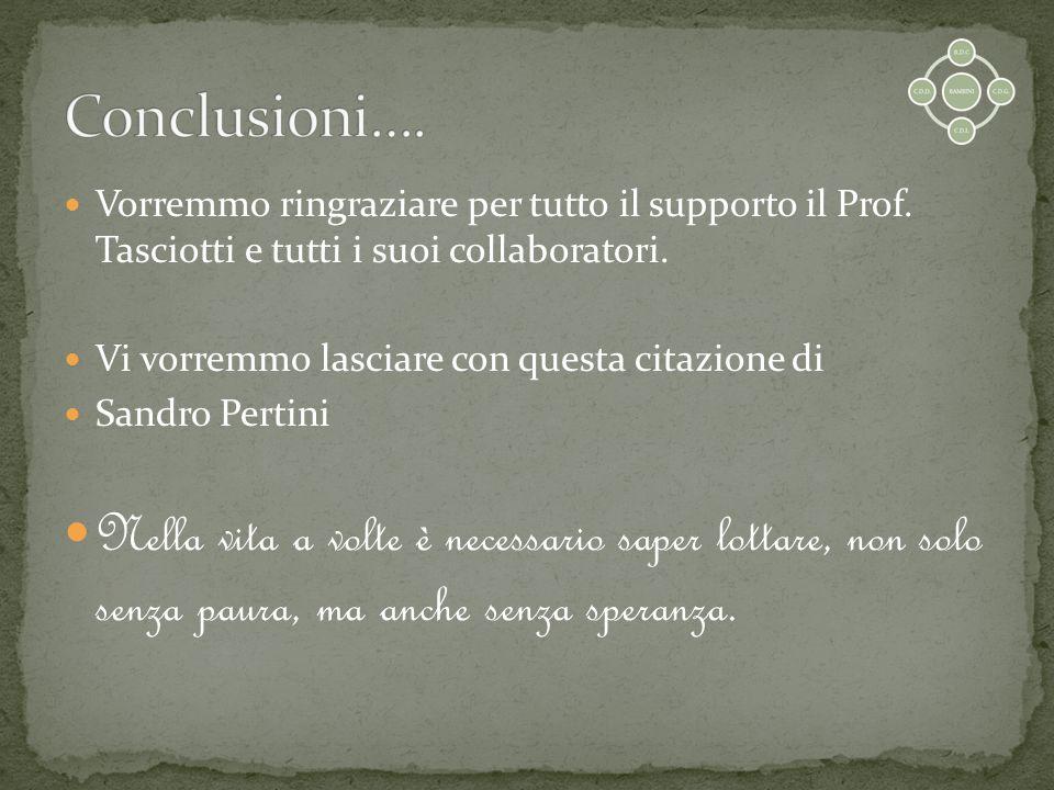 Conclusioni…. Vorremmo ringraziare per tutto il supporto il Prof. Tasciotti e tutti i suoi collaboratori.