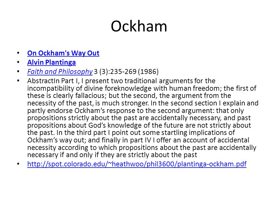 Ockham On Ockham s Way Out Alvin Plantinga