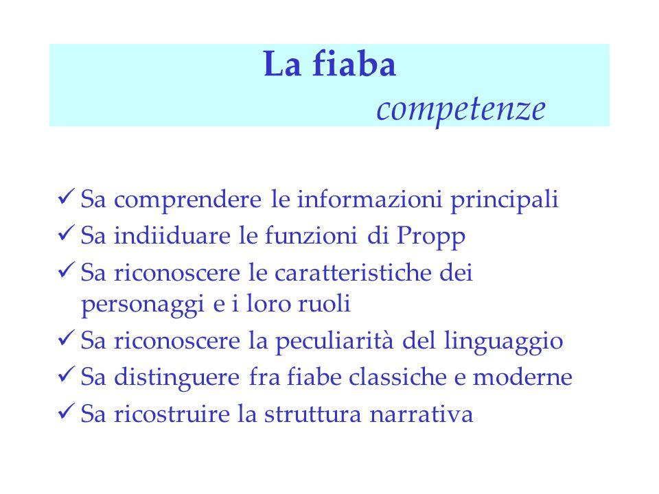 La fiaba competenze Sa comprendere le informazioni principali