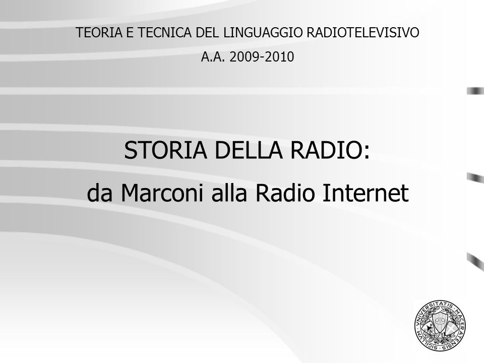 da Marconi alla Radio Internet