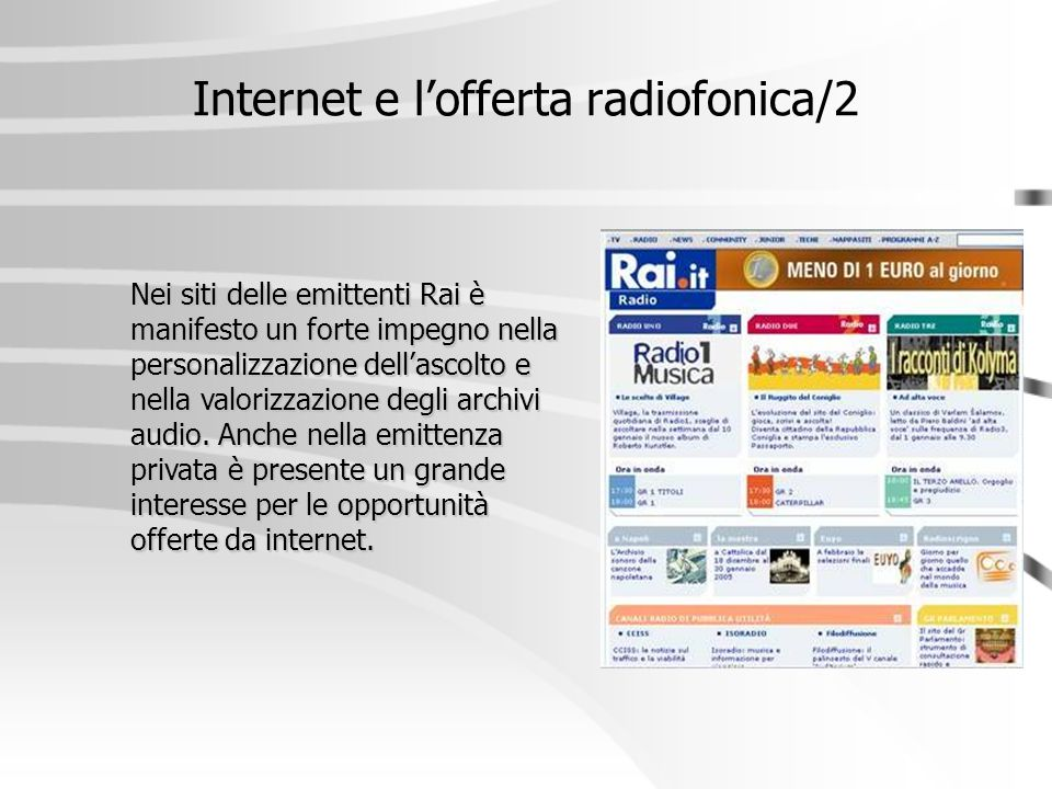 Internet e l'offerta radiofonica/2
