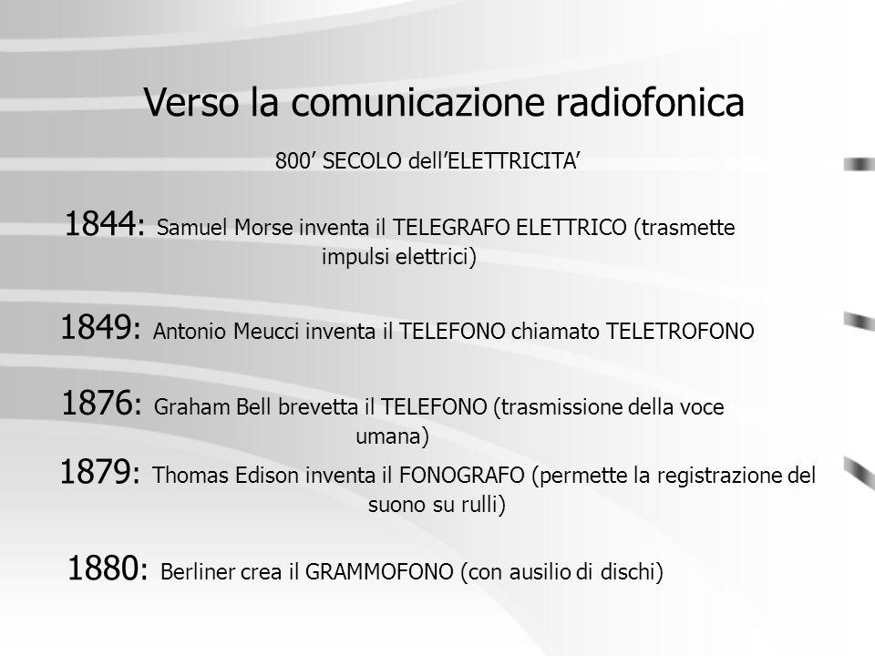 Verso la comunicazione radiofonica