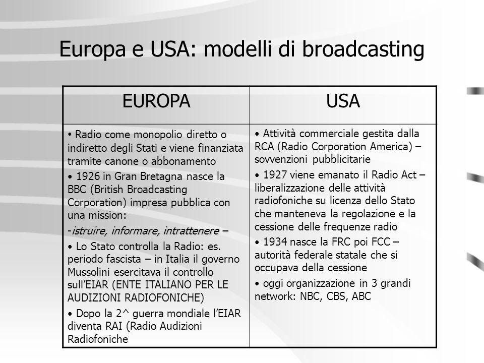 Europa e USA: modelli di broadcasting
