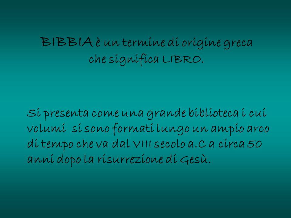 BIBBIA è un termine di origine greca che significa LIBRO.