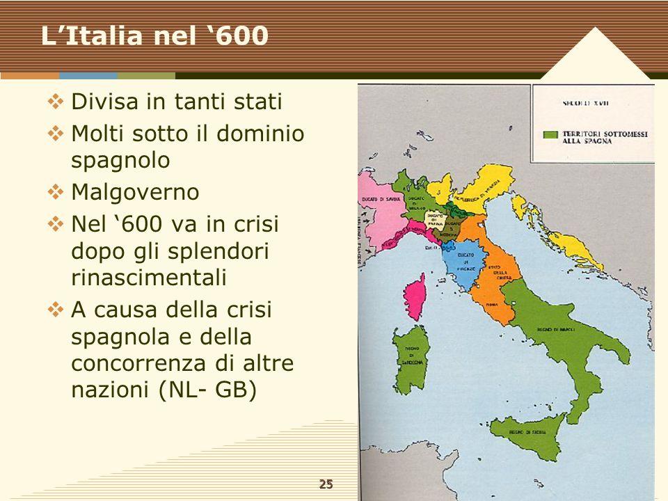 L'Italia nel '600 Divisa in tanti stati