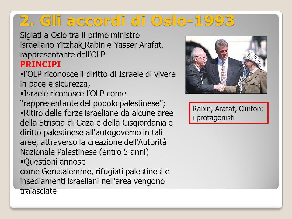 2. Gli accordi di Oslo-1993 Siglati a Oslo tra il primo ministro israeliano Yitzhak Rabin e Yasser Arafat, rappresentante dell'OLP.