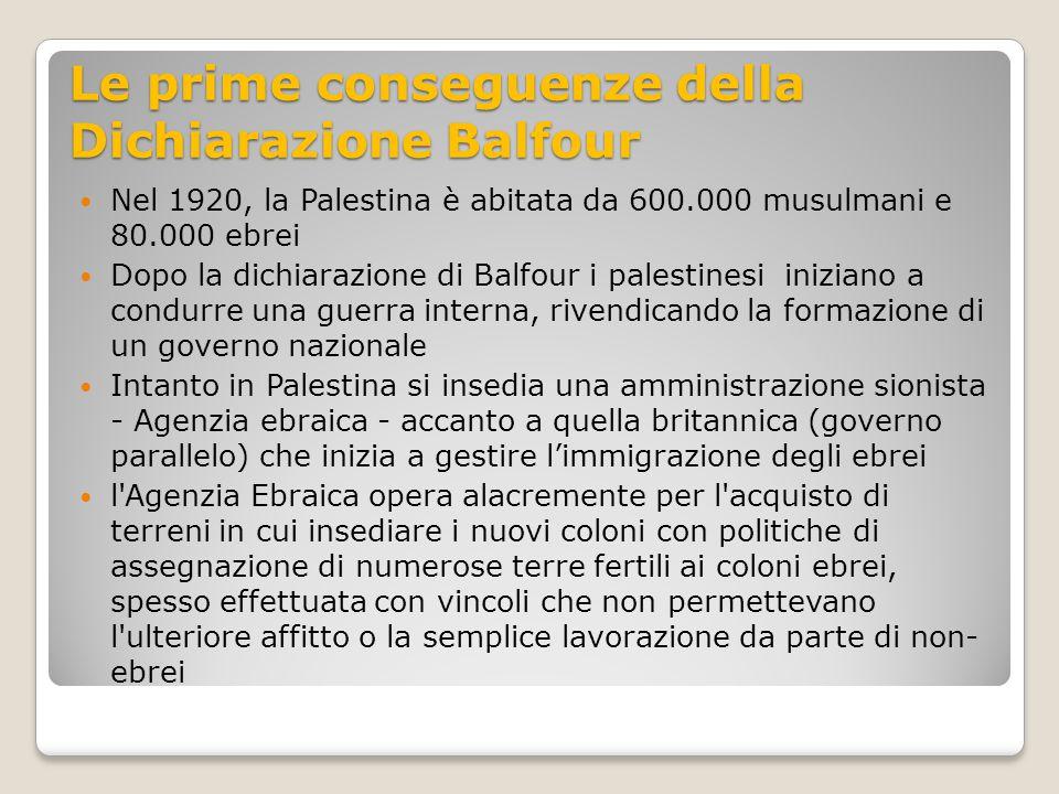 Le prime conseguenze della Dichiarazione Balfour