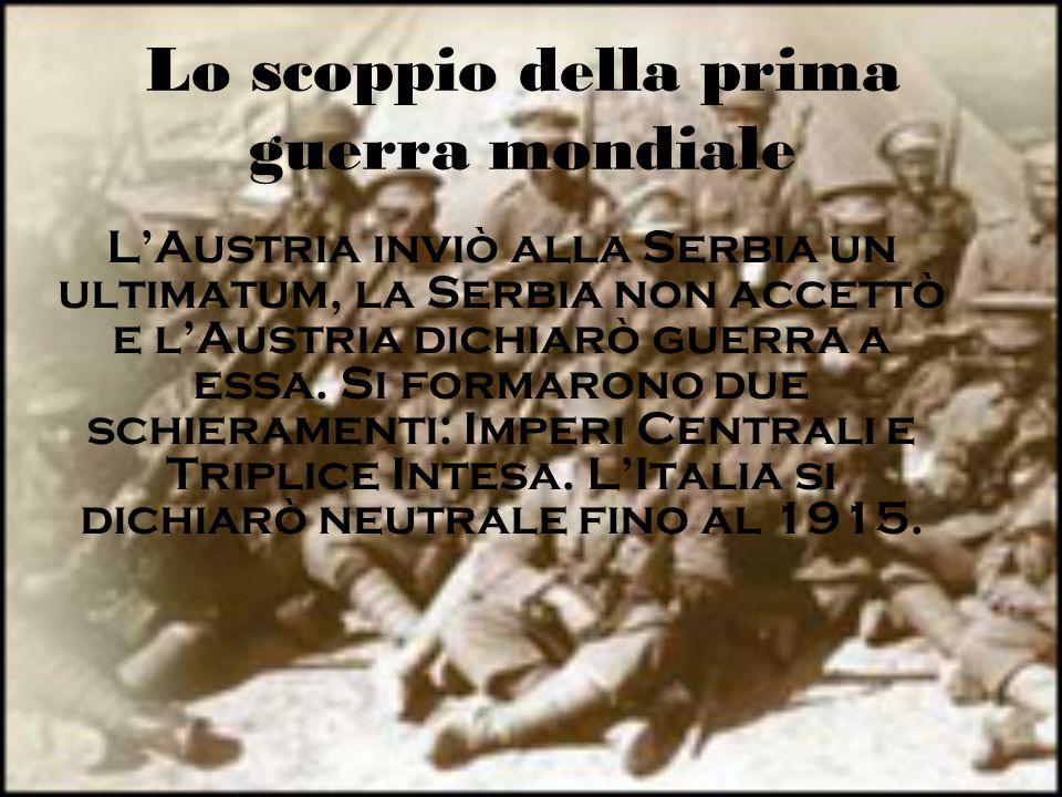 Lo scoppio della prima guerra mondiale