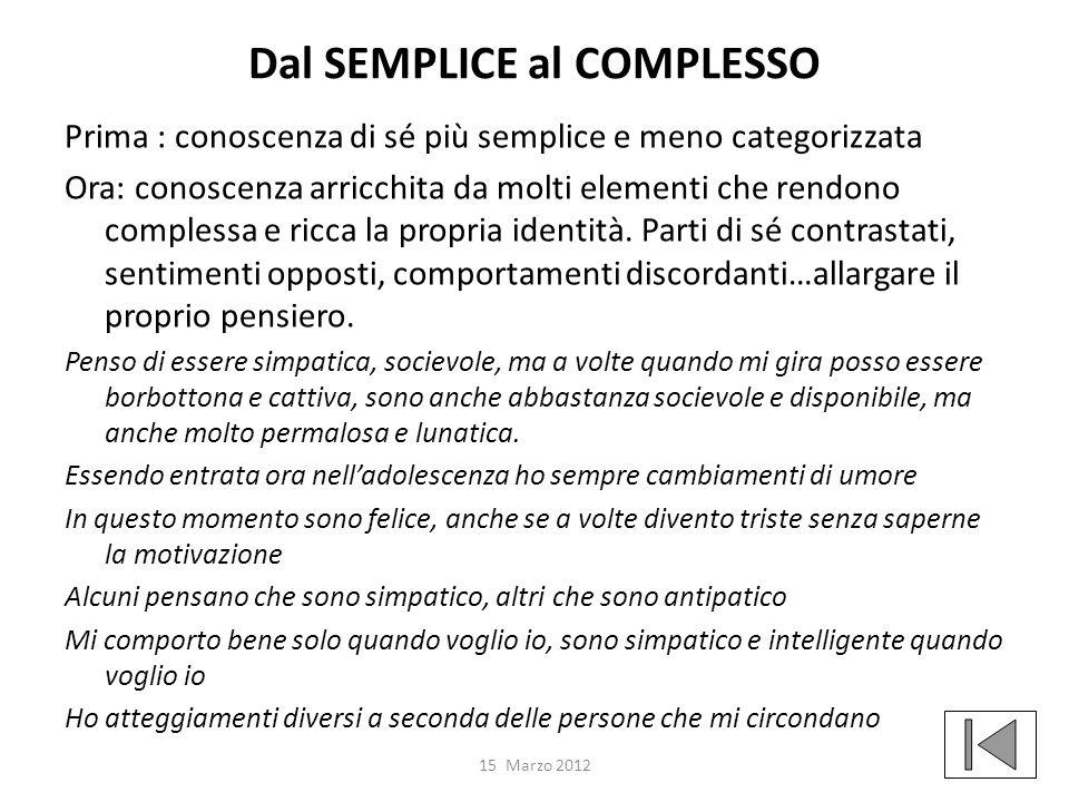 Dal SEMPLICE al COMPLESSO
