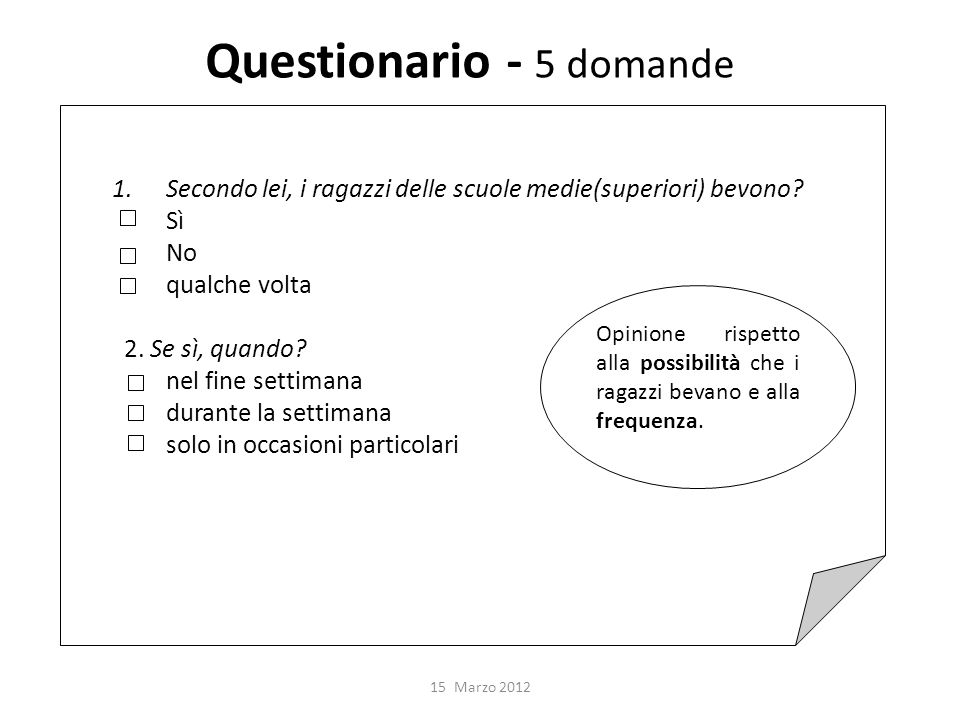 Questionario - 5 domande