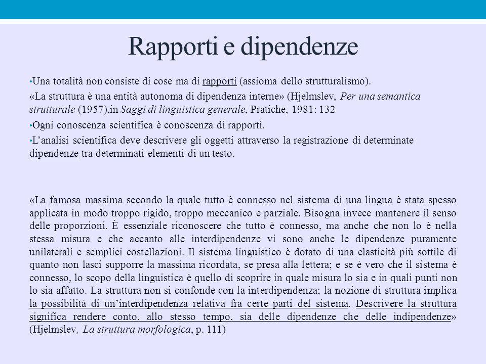 Rapporti e dipendenze Una totalità non consiste di cose ma di rapporti (assioma dello strutturalismo).