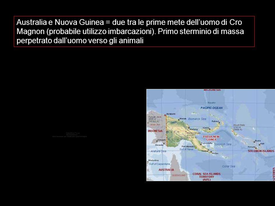 Australia e Nuova Guinea = due tra le prime mete dell'uomo di Cro Magnon (probabile utilizzo imbarcazioni).