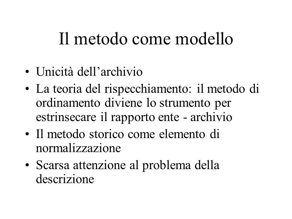 Il metodo come modello Unicità dell'archivio