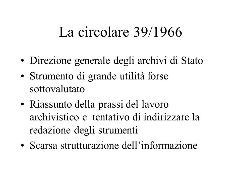 La circolare 39/1966 Direzione generale degli archivi di Stato