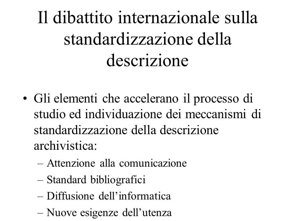 Il dibattito internazionale sulla standardizzazione della descrizione