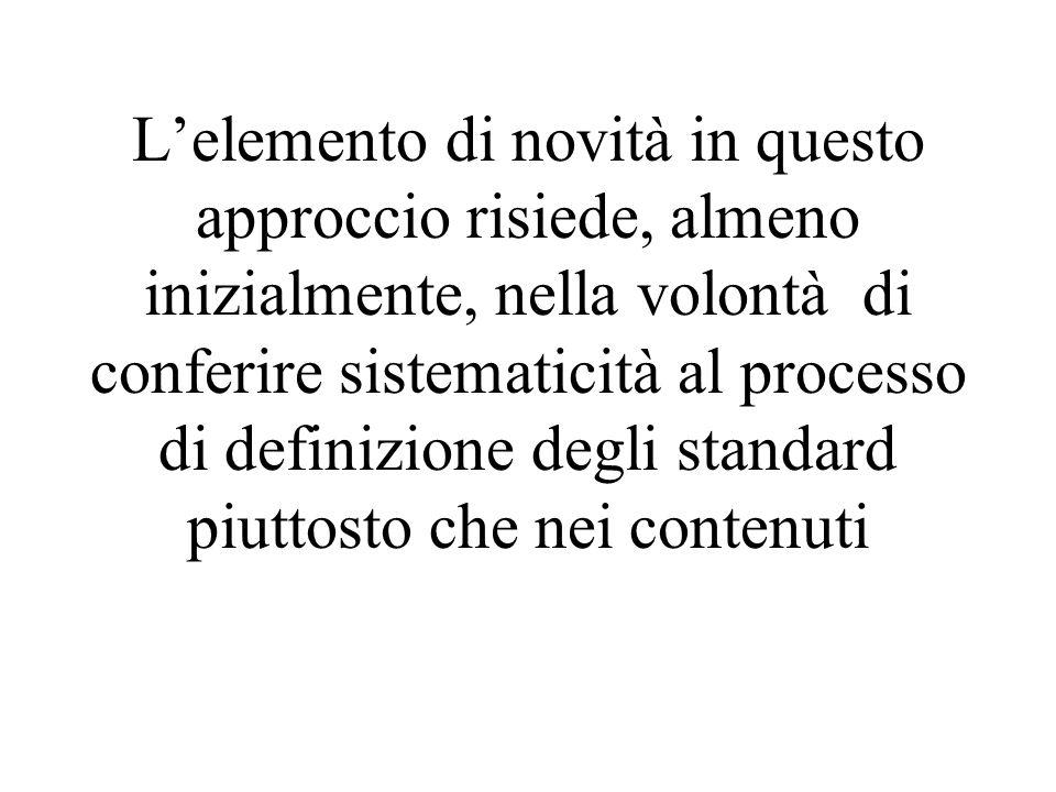 L'elemento di novità in questo approccio risiede, almeno inizialmente, nella volontà di conferire sistematicità al processo di definizione degli standard piuttosto che nei contenuti