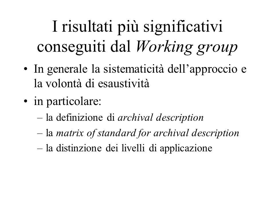 I risultati più significativi conseguiti dal Working group