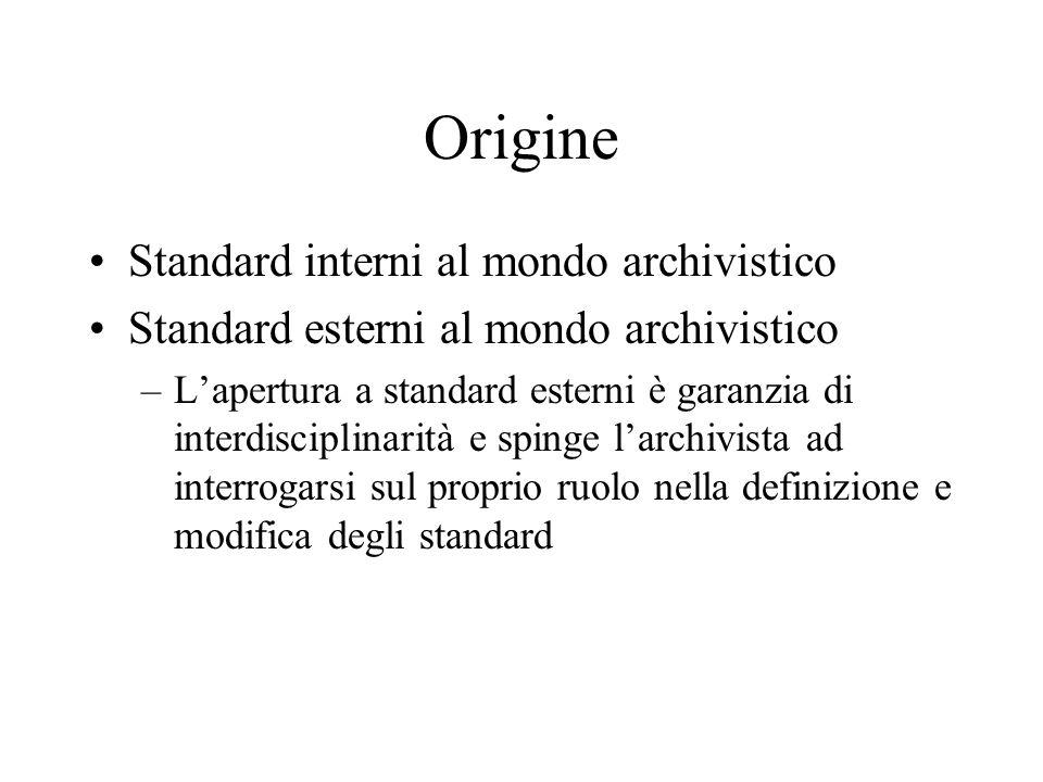 Origine Standard interni al mondo archivistico
