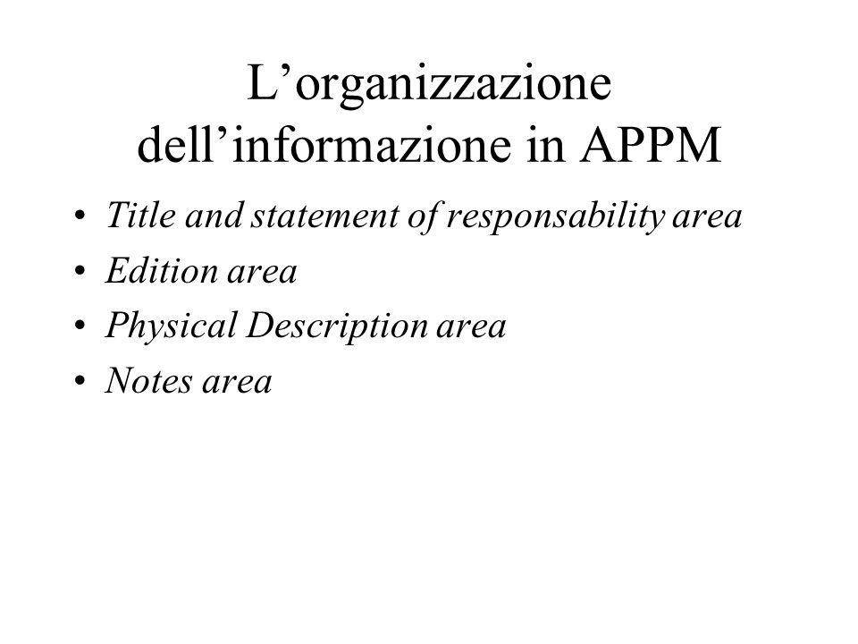 L'organizzazione dell'informazione in APPM