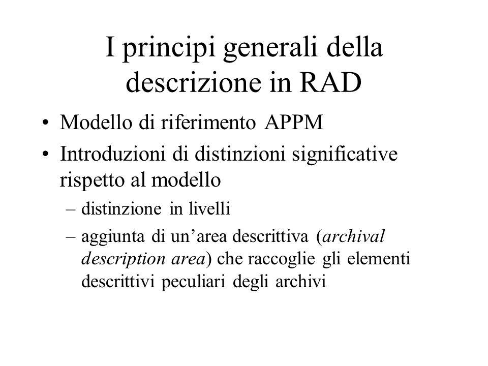 I principi generali della descrizione in RAD