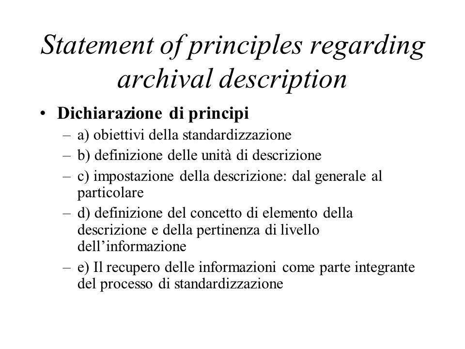 Statement of principles regarding archival description