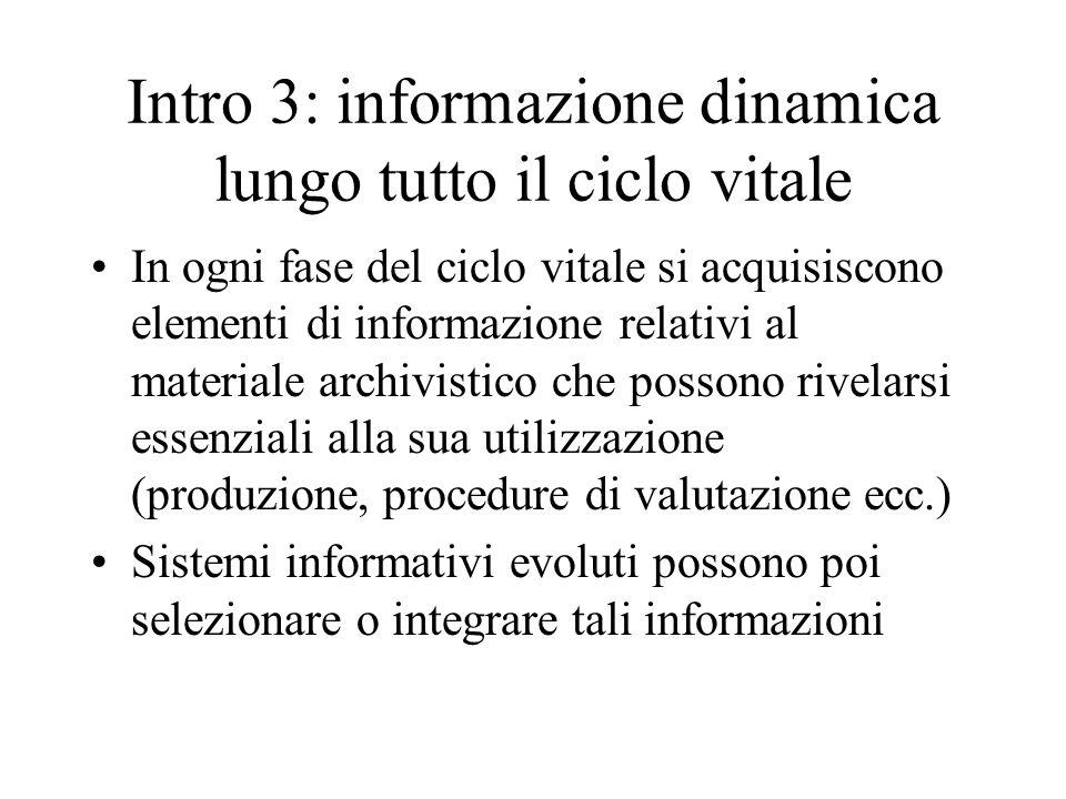 Intro 3: informazione dinamica lungo tutto il ciclo vitale