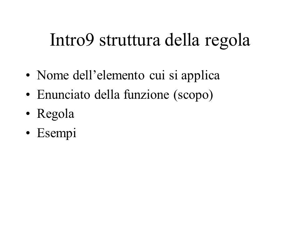 Intro9 struttura della regola