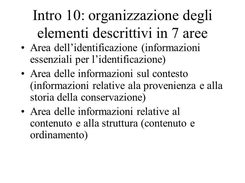 Intro 10: organizzazione degli elementi descrittivi in 7 aree