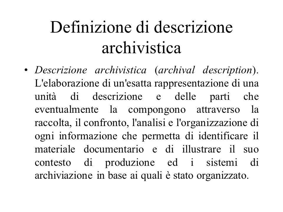 Definizione di descrizione archivistica