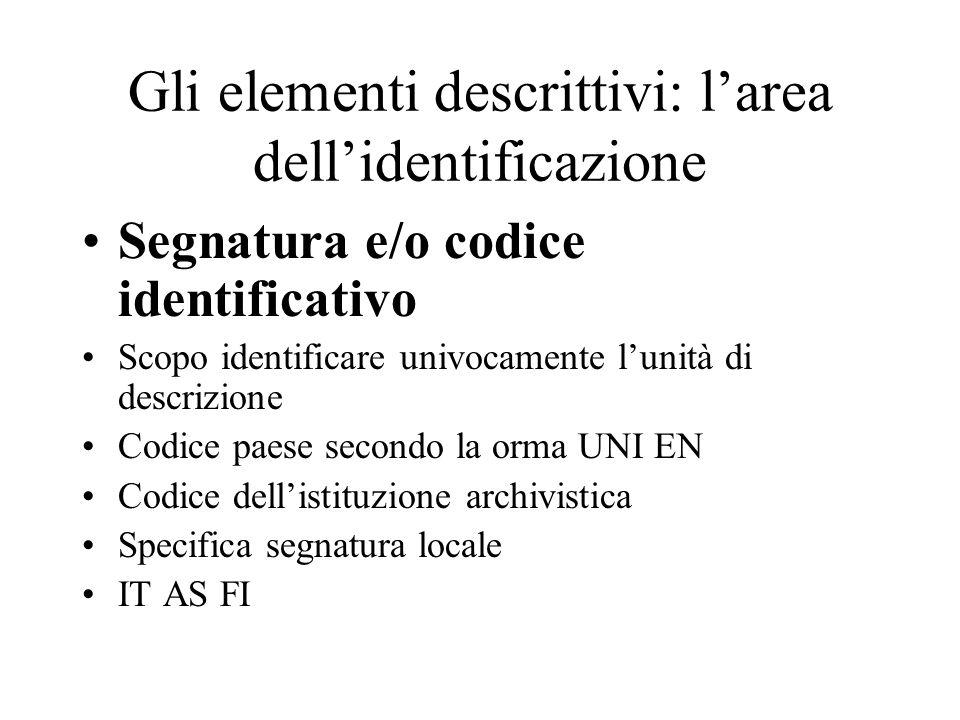 Gli elementi descrittivi: l'area dell'identificazione