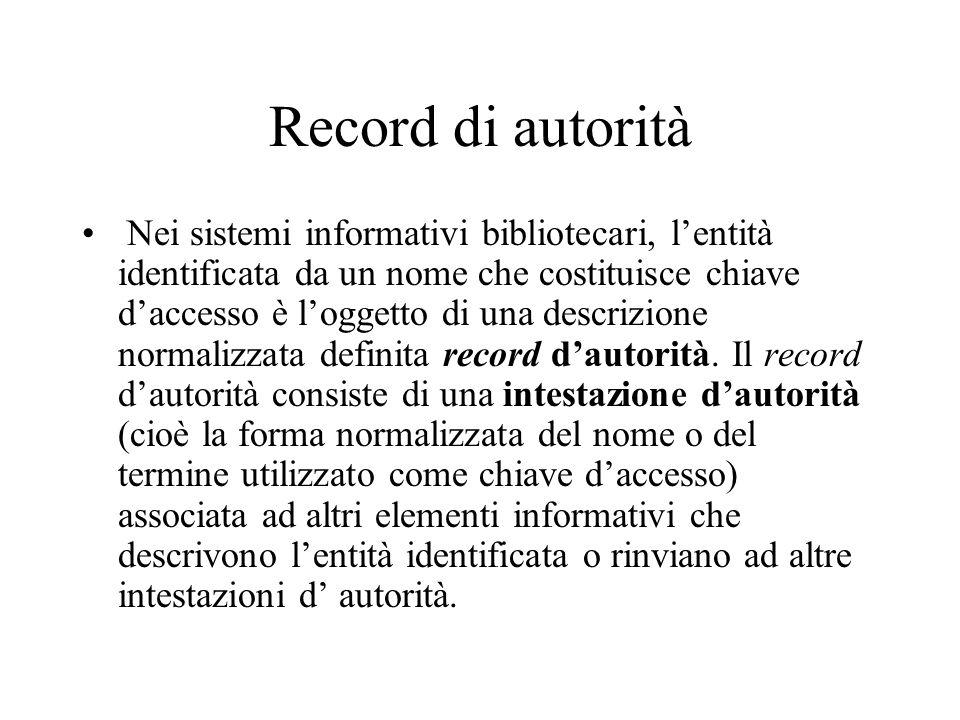 Record di autorità